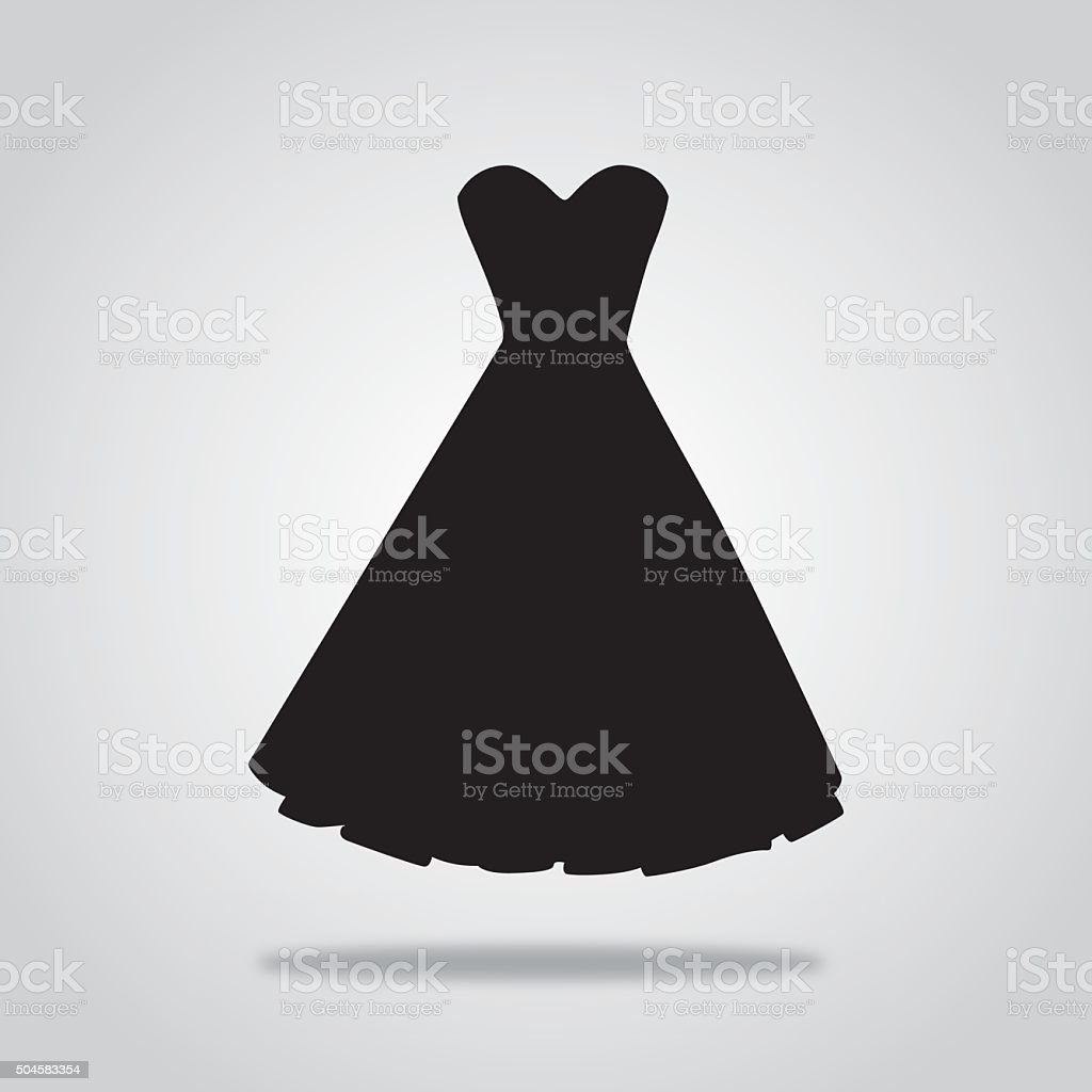 Black Cocktail dress icon vector art illustration