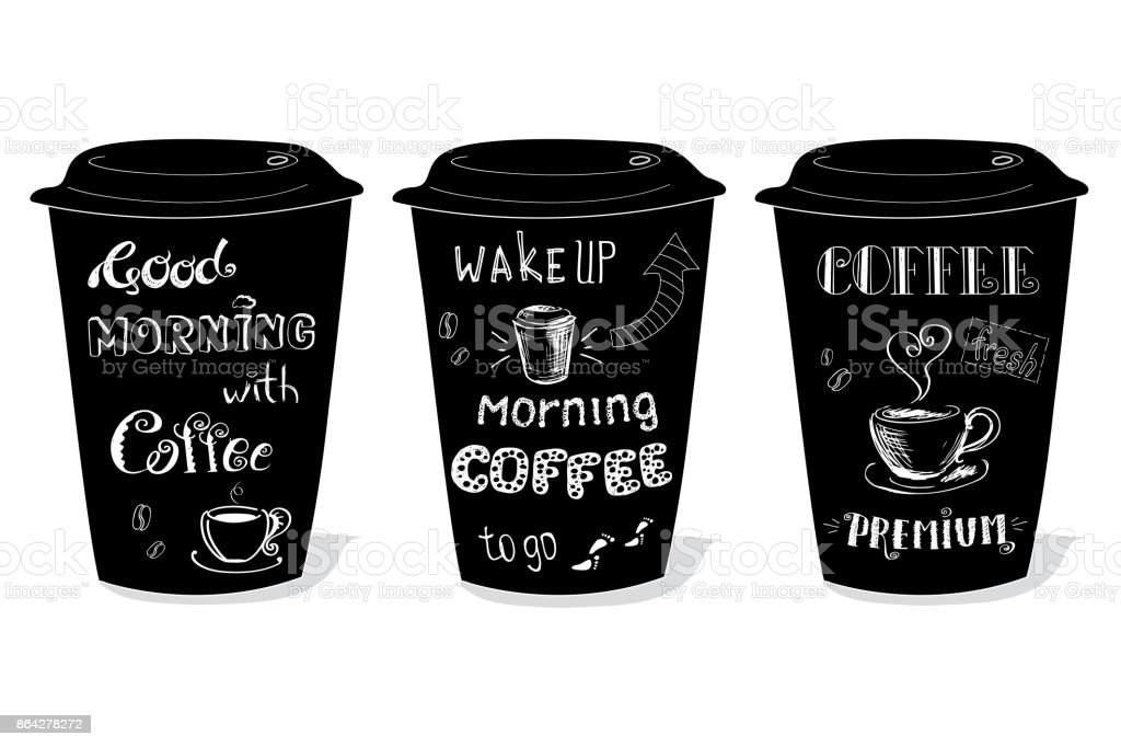 Black coffee cup covered with hand-drawings on the theme of coff royalty-free black coffee cup covered with handdrawings on the theme of coff stock vector art & more images of backgrounds