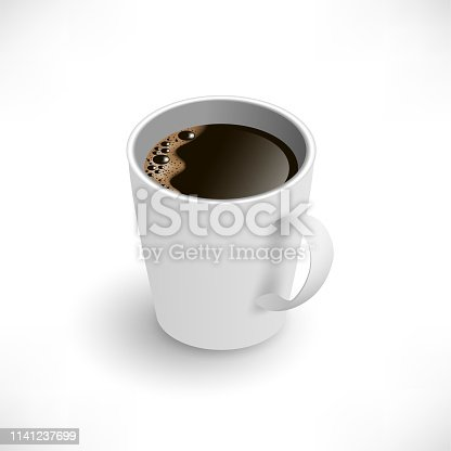 A cup of black coffee isometric view. Realistic vector. 3d model americano in white cup isolated on white background