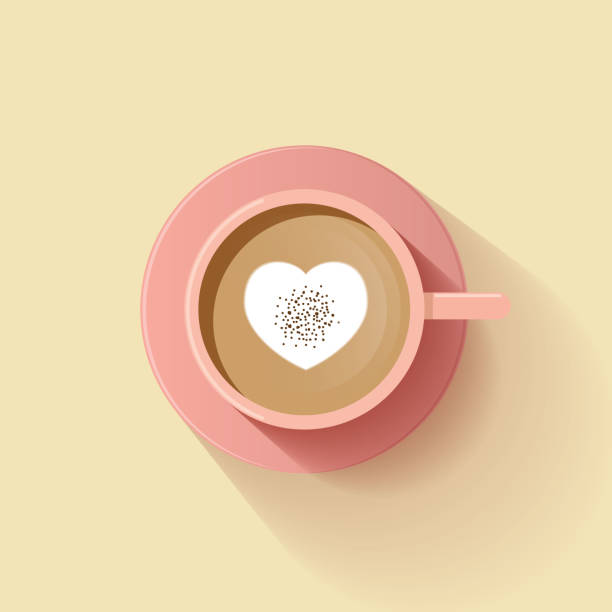 black coffee red cup top view isolated on background. vector illustration - cappuccino stock illustrations