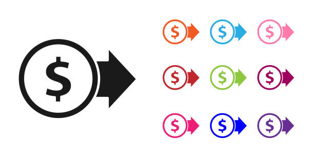 ilustrações de stock, clip art, desenhos animados e ícones de black coin money with dollar symbol icon isolated on white background. banking currency sign. cash symbol. set icons colorful. vector illustration - circular economy