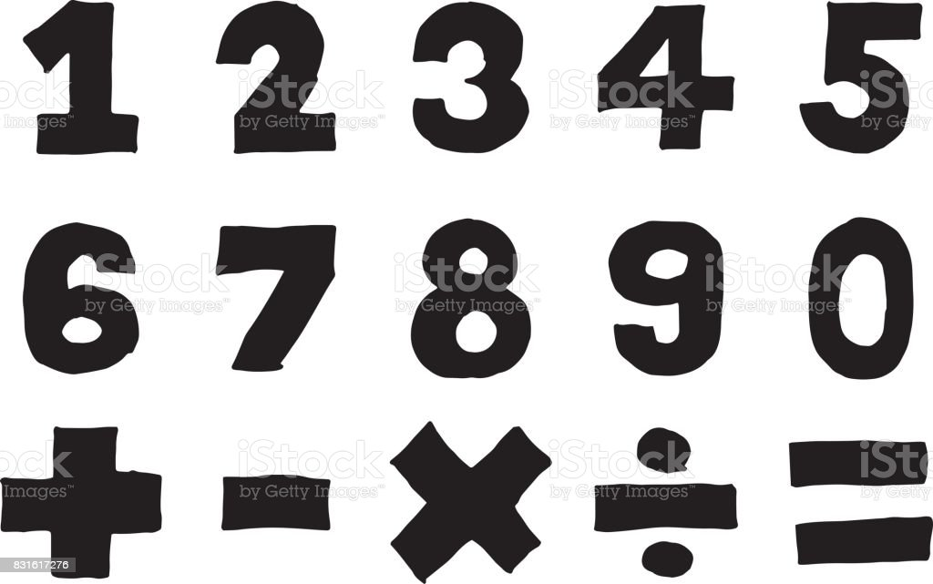Black Color Hand Drawing Of Number And Mathematics Symbol Plus Minus Multiply Divide