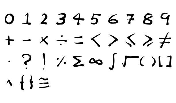 illustrazioni stock, clip art, cartoni animati e icone di tendenza di black color handwriting of number and mathematics symbol on white background - segno meno
