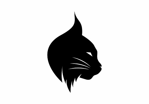 Black color of lynx head design