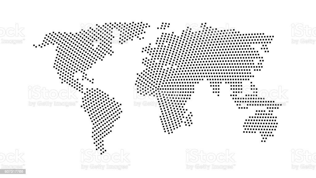 Black Color World Map Isolated On White Background Abstract