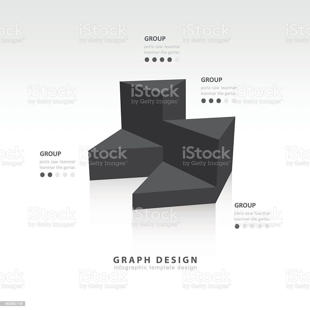 black colore  triangle graph infographic vector art illustration