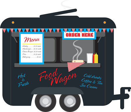 Black colored Food wagon trailer on white background