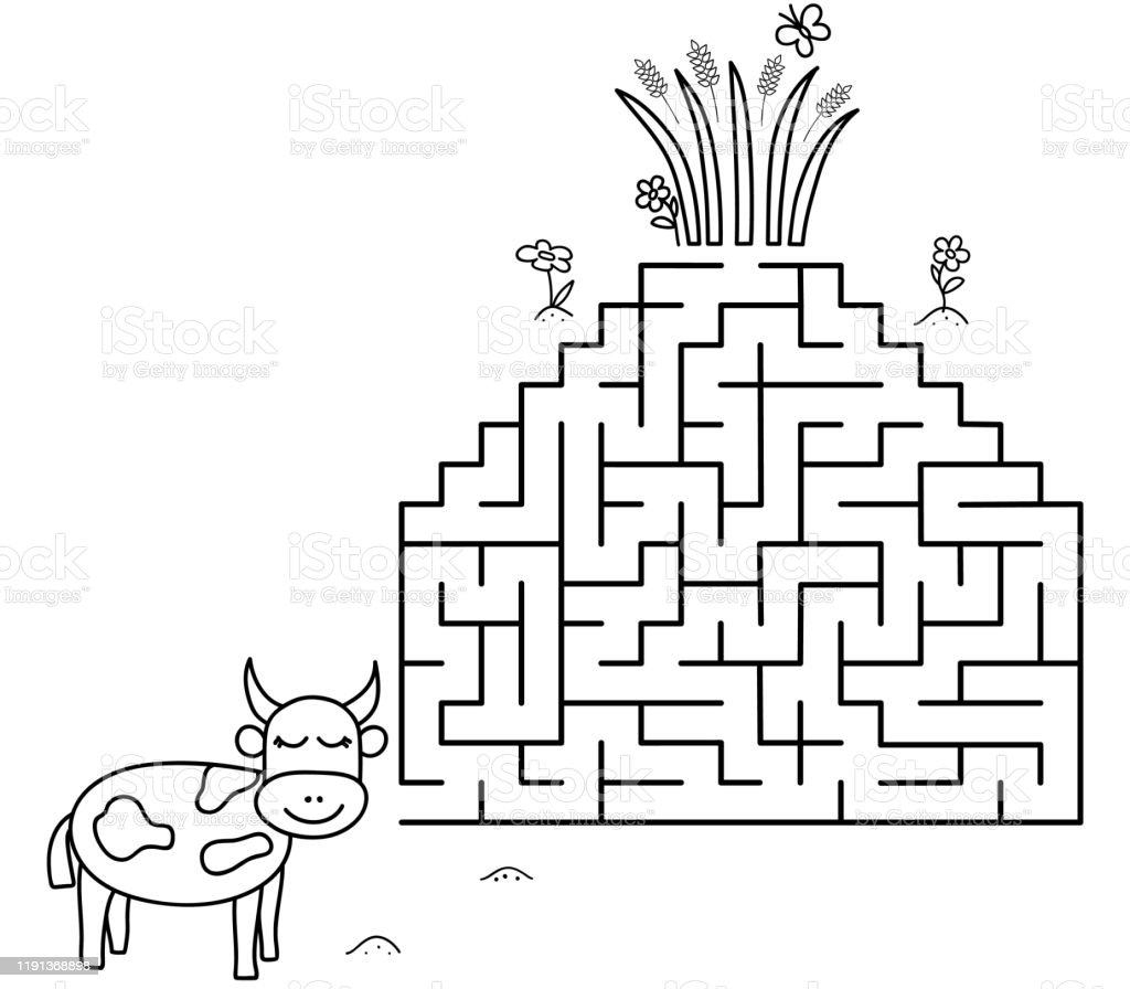 black coloring pages with maze cartoon cow and grass kids education art game template design with pet on white background outline vector stock illustration download image now istock black coloring pages with maze cartoon cow and grass kids education art game template design with pet on white background outline vector stock illustration download image now istock