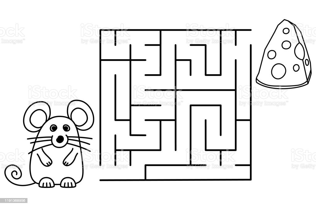 Black Coloring Pages With Maze Cartoon Mouse And Cheese ...