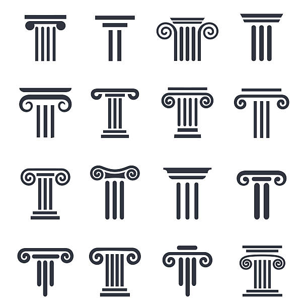 black column icons Ancient columns vector icon set. Vector black column icons set on white background. classical greek stock illustrations