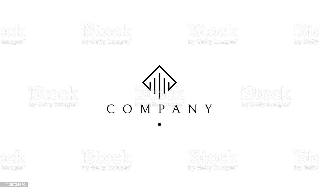 Black column logo vector art illustration