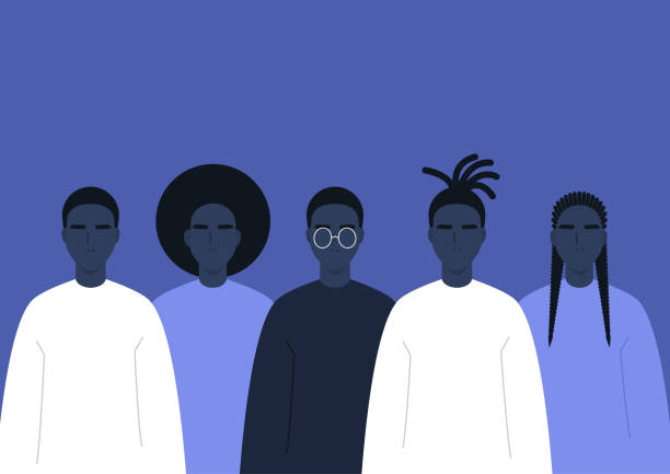 Black community a group of African people, human rights, fight racism Black community a group of African people, human rights, fight racism civil rights stock illustrations