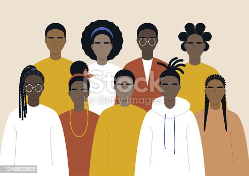 Black community, african people gathered together, a set of male and female characters wearing casual clothes and different hairstyles
