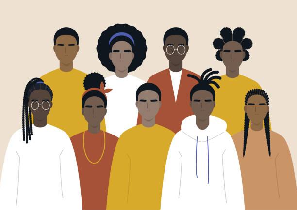 ilustraciones, imágenes clip art, dibujos animados e iconos de stock de comunidad negra, gente africana se reunió, un conjunto de personajes masculinos y femeninos que llevan ropa casual y diferentes peinados - black people