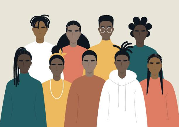ilustraciones, imágenes clip art, dibujos animados e iconos de stock de comunidad negra, los africanos se reunieron, un conjunto de personajes masculinos y femeninos que llevan ropa casual y diferentes peinados - black people