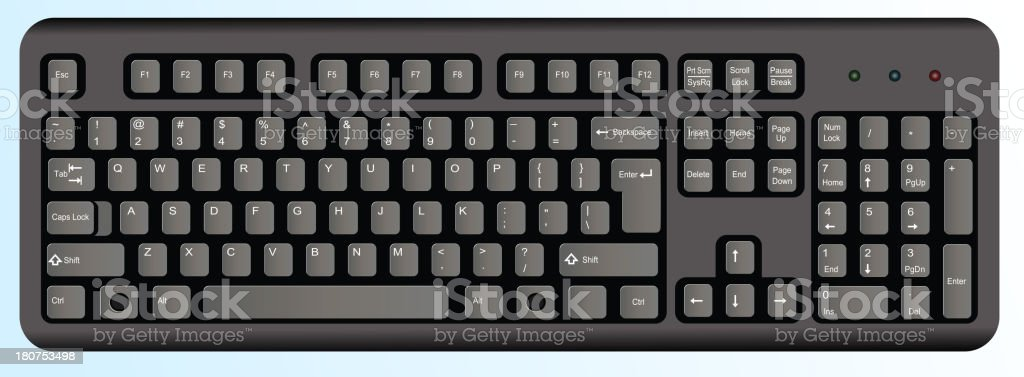Black computer keyboard vector art illustration