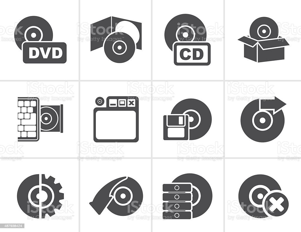 Black Computer Media and disk Icons royalty-free black computer media and disk icons stock illustration - download image now