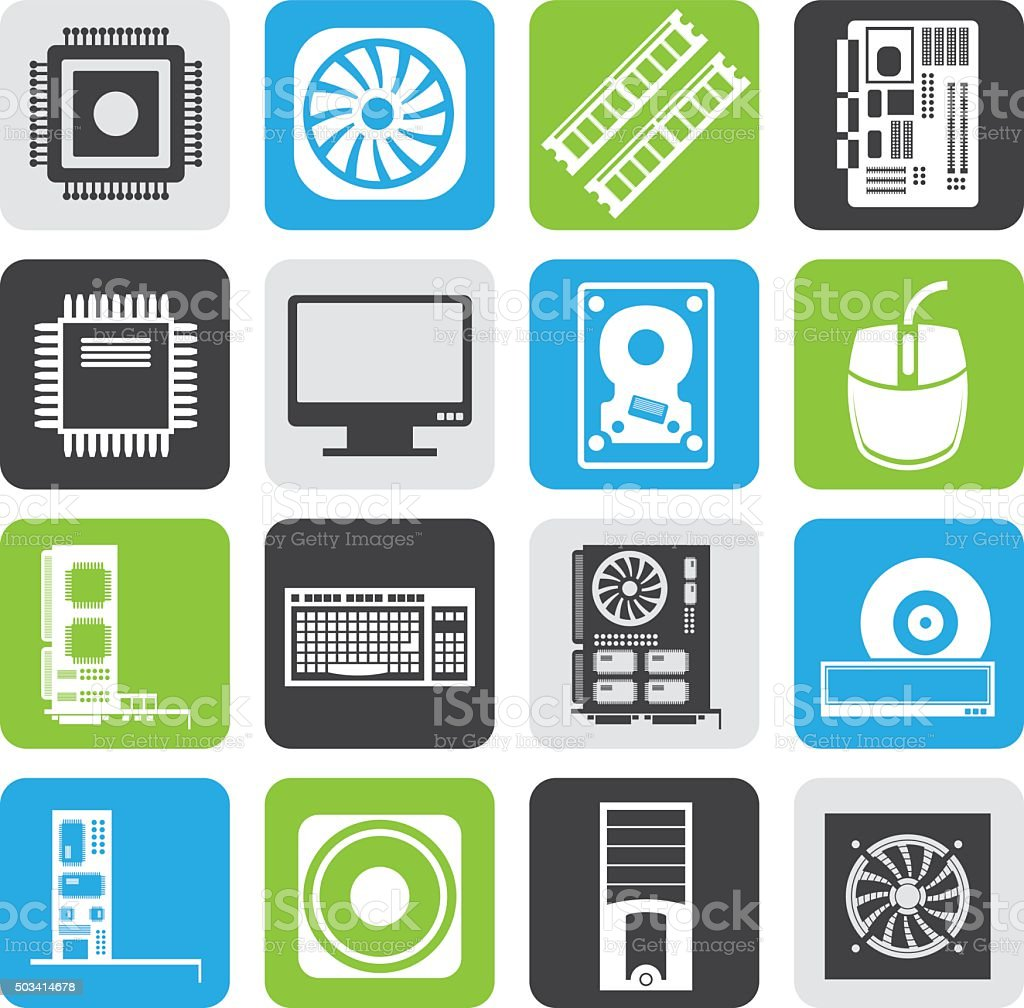 Black Computer  performance and equipment icons vector art illustration