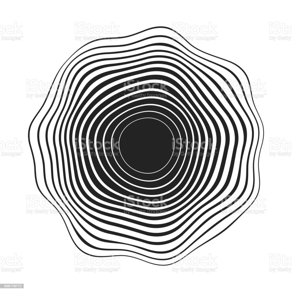 black concentric wavy lines that makes a rounded abstract organic shape vector art illustration