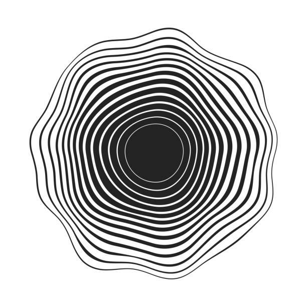 stockillustraties, clipart, cartoons en iconen met zwarte concentrische golvende lijnen die een afgeronde abstracte organische vorm maakt - golvend haar