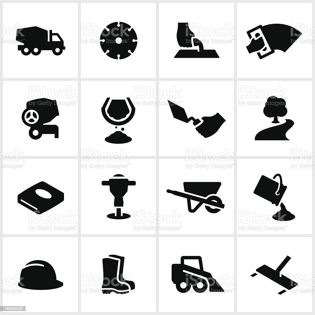 Black Concrete Work Icons royalty-free stock vector art