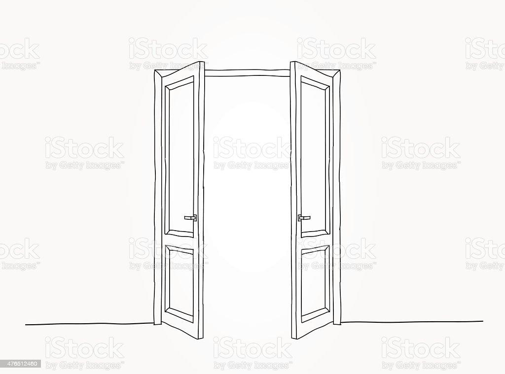 Black contour doors vector art illustration