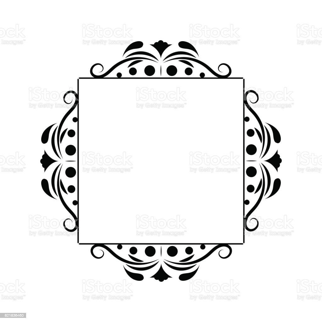 black contour vintage classic square monogram frame royalty free stock vector art - Monogram Frame