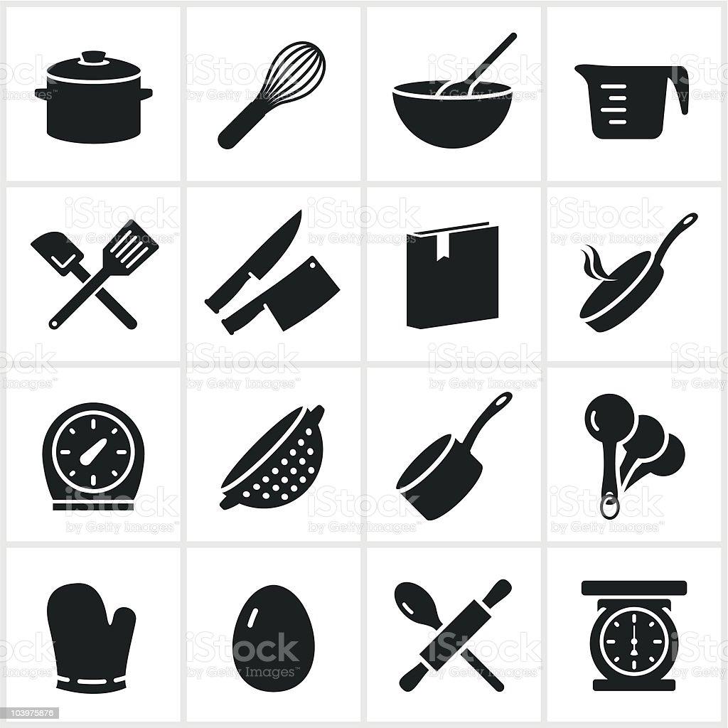 Schwarze Kochen Symbole - Lizenzfrei Backen Vektorgrafik
