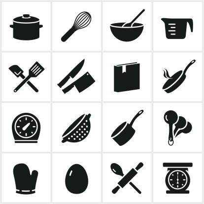 Schwarze Kochen Symbole Stock Vektor Art und mehr Bilder von Backen