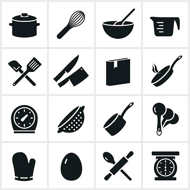 Black Cooking Icons Common cooking utensil icons. rolling pin stock illustrations