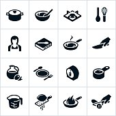 Cooking icons. All white strokes/shapes are cut from the icons and merged allowing the background to show through.