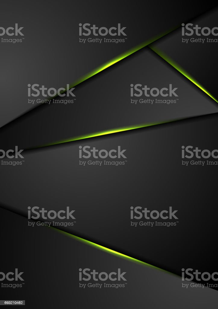 Black corporate background with green glowing lines vector art illustration