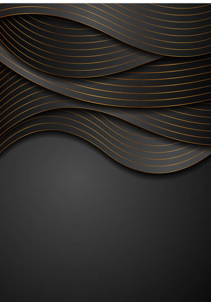 Black corporate wavy background with golden lines vector art illustration