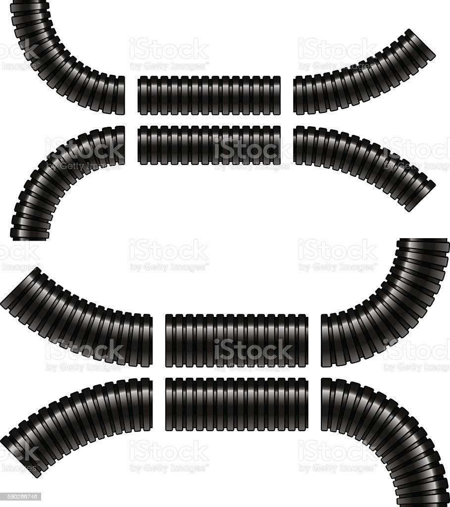 black corrugated flexible tubes vector art illustration