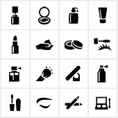 Cosmetic icons. All white strokes/shapes are cut from the icons and merged allowing the background to show through.