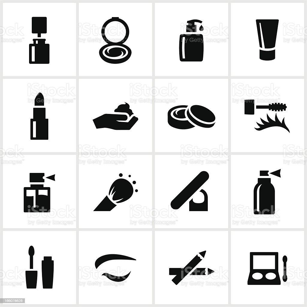 Black Cosmetics Icons vector art illustration