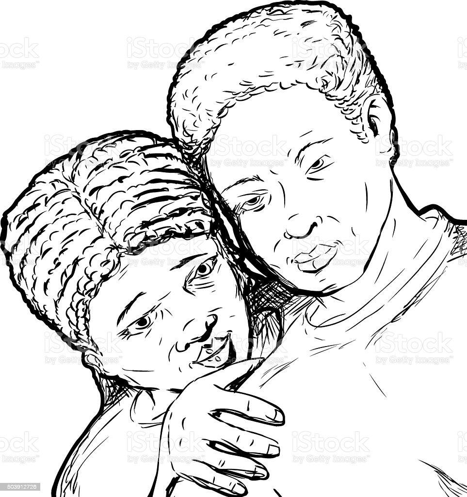 Black Couple Outline vector art illustration