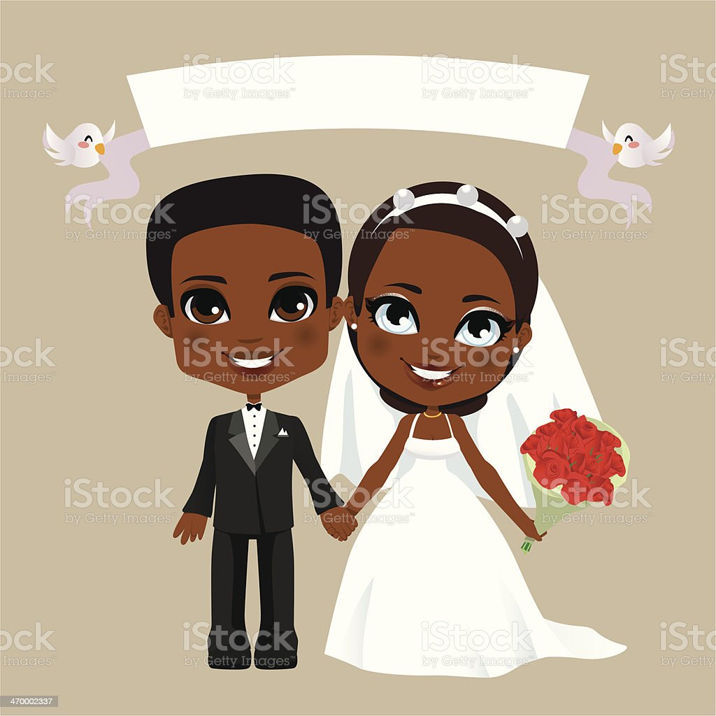 Black Couple Wedding vector art illustration