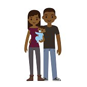 Cute cartoon African American young couple holding a baby boy and smiling, isolated on white background. Alternate color option (with baby girl in pink) enclosed in archive.