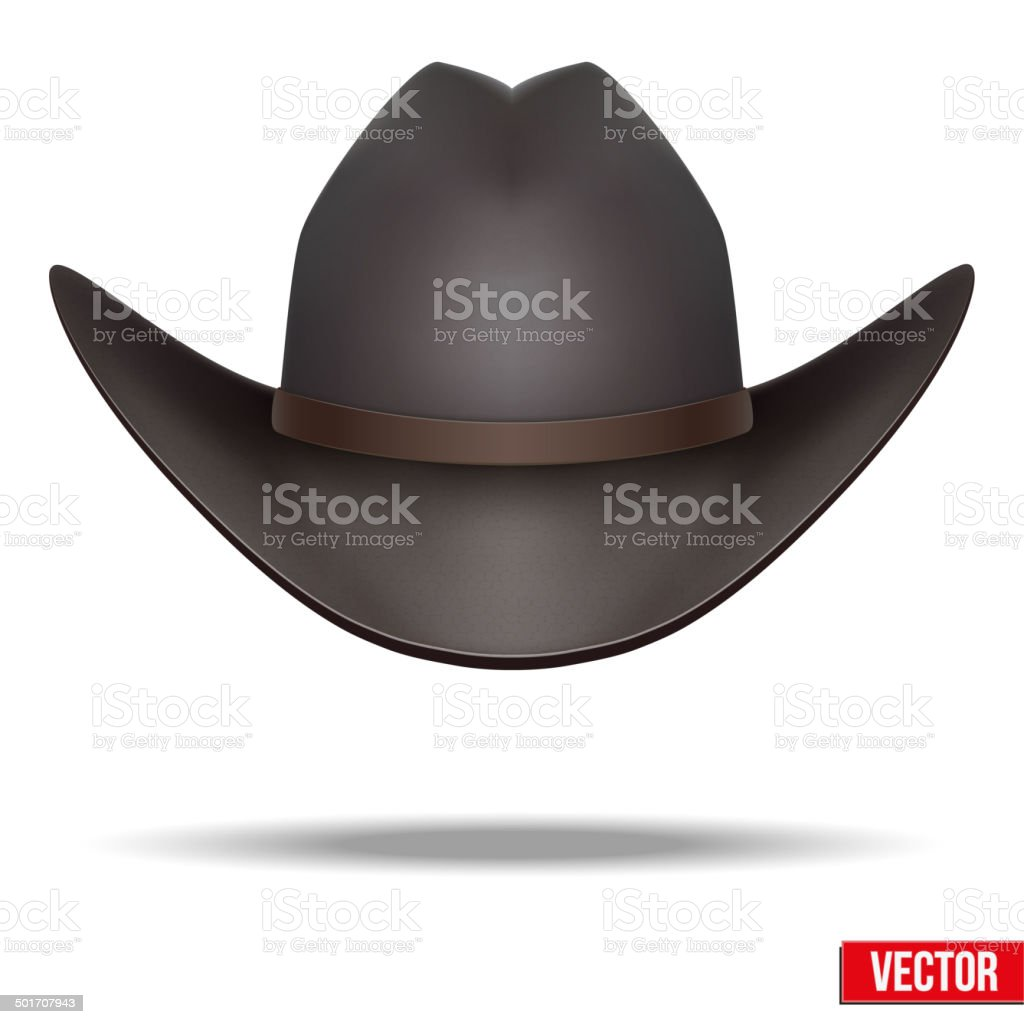 Black cowboy hat. Vector Illustration. Isolated on white background. vector art illustration
