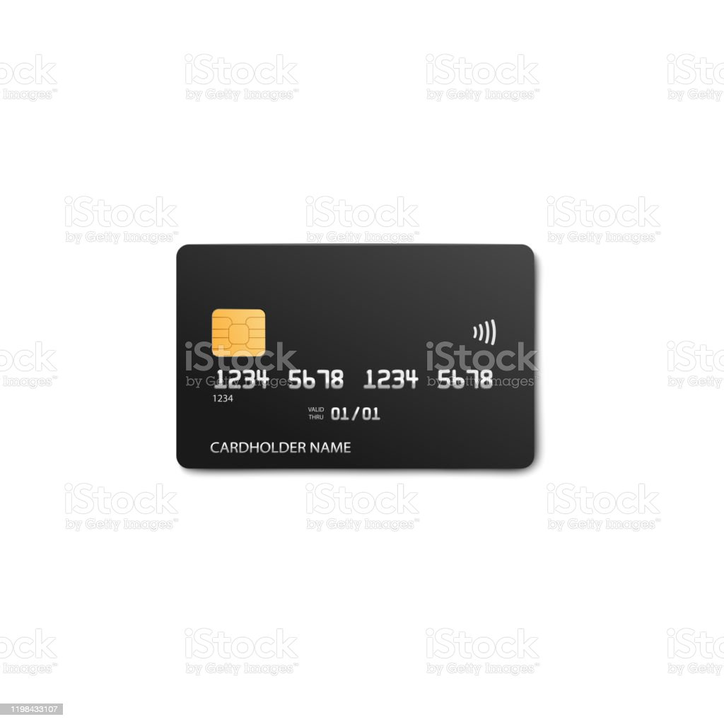black credit card template with realistic silver bank