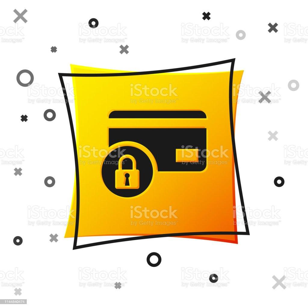 Carte Bancaire Jaune.Carte De Credit Noire Avec Licone De Serrure Disolement Sur