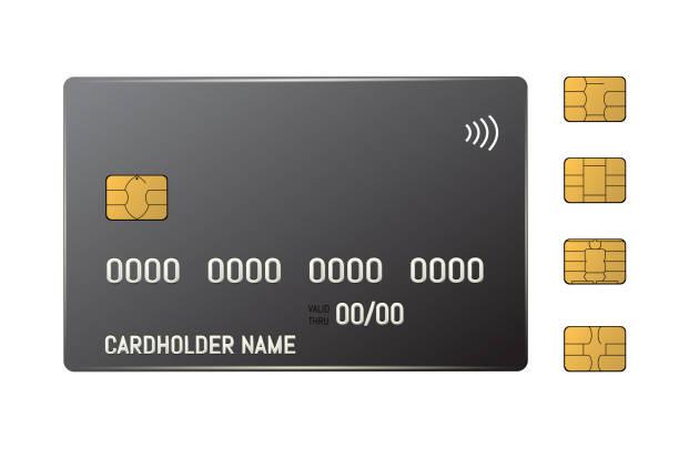 emv çipli siyah kredi plastik kartı. temassız ödeme - bilgisayar yongası stock illustrations