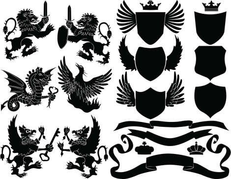 Set of Vector Black Crest Elements including lions, griffins, dragon, phoenix, sheilds, crowns and ribbons.