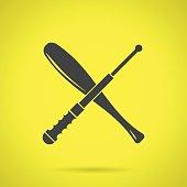 Black crossed baton flat vector icon