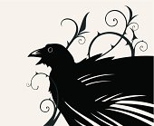 Stylized silhouette of a black crow in the Thorn.
