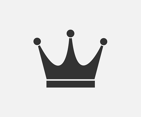 Black Crown Icon On Gray Background In Flat Design Stock ...
