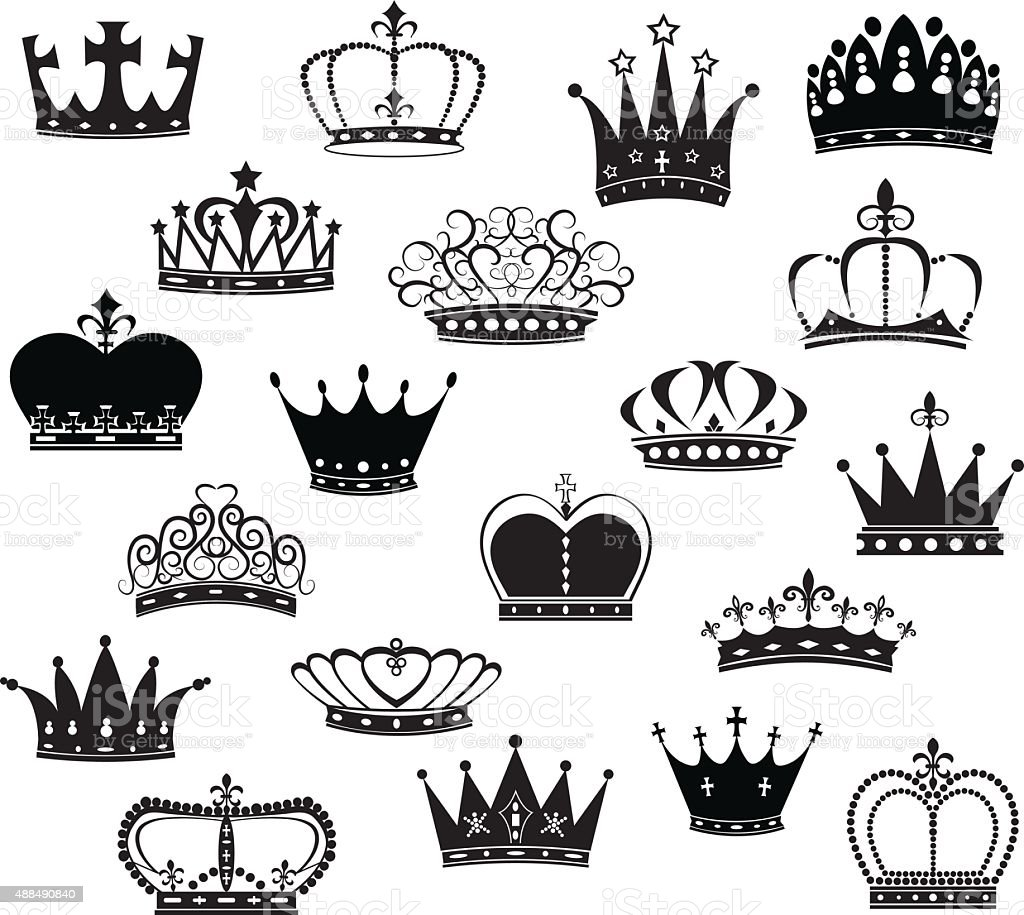 Black Crown Silhouette Collection vector art illustration