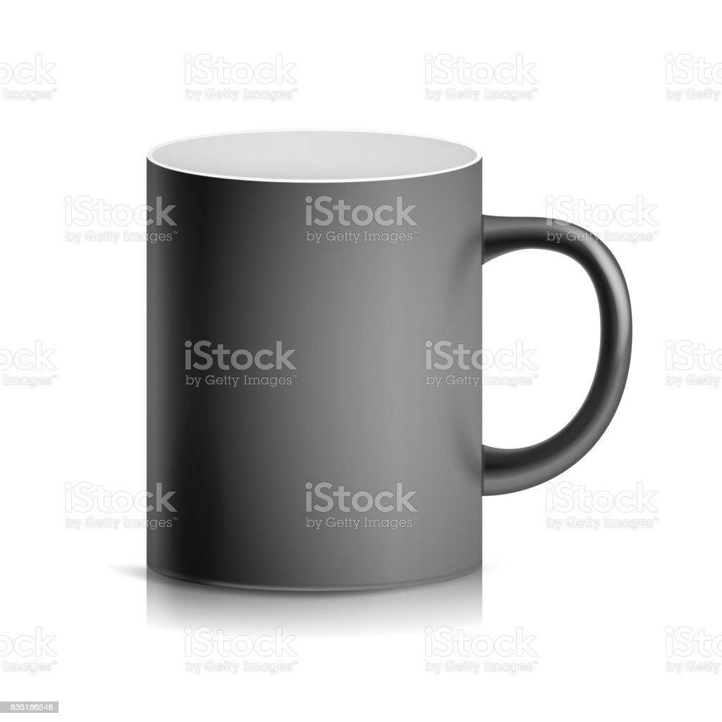 Black Cup Mug Vector 3d Realistic Ceramic Or Plastic Cup