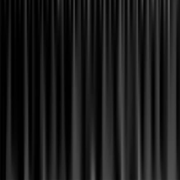 schwarzer vorhang hintergrund. vektor realistische schwarzer vorhang. - plüsch stock-grafiken, -clipart, -cartoons und -symbole